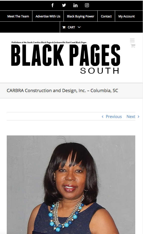 CARBRA mention in the Black Pages South Website